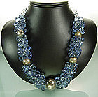 1960s Statement Size French Blue Poured Glass Necklace