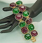 Dominique Aurientis Bracelet: Green Purple Poured Glass