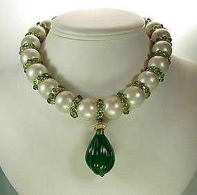 Green Gripoix Glass, Pearls Statement Necklace: France
