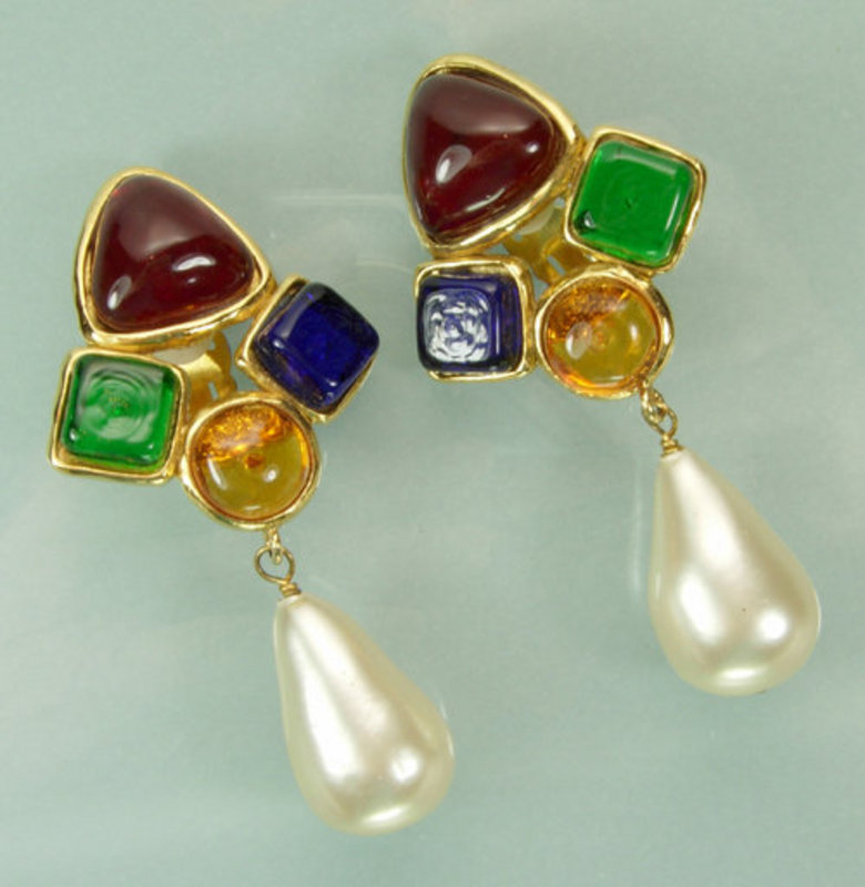Signed Chanel Drop Earrings: Poured Glass, Faux Pearls
