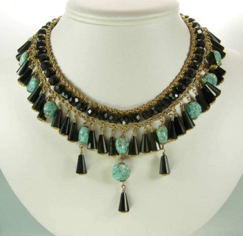 Signed Miriam Haskell Glass Necklace: Turquoise, Black