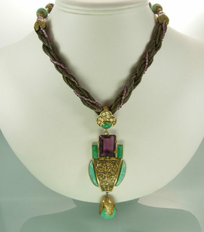 French Art Deco Egyptian Purple and Jade Glass Necklace