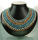 C 1970 Signed Coppola e Toppo Aqua Glass Bib Necklace