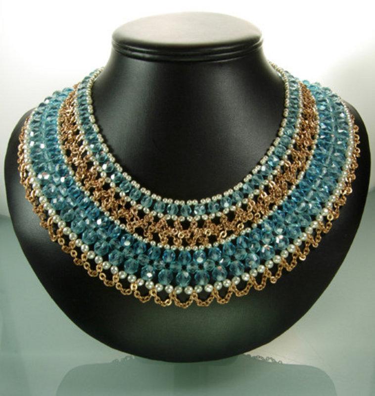 C 1970 Signed Coppola e Toppo Aqua Glass Bib Necklace