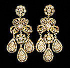 1960s Kenneth J Lane Huge 18th C Style Strass Earrings