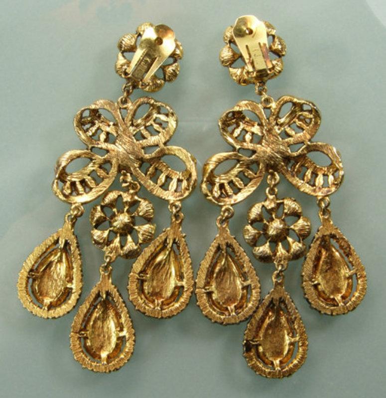 1960s Kenneth J Lane Huge 18th C Style Strass Earrings