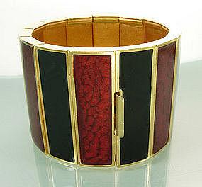 1970s Yves Saint Laurent Wide Red Black Enamel Bracelet