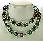Archimede Seguso for Chanel Blue Green Glass Necklace