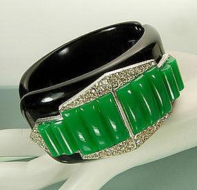 Pr Black Green Celluloid Strass Metal Clamper Bracelets