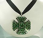 Schreiner 2 Sided Green Stones Maltese Cross Pendant