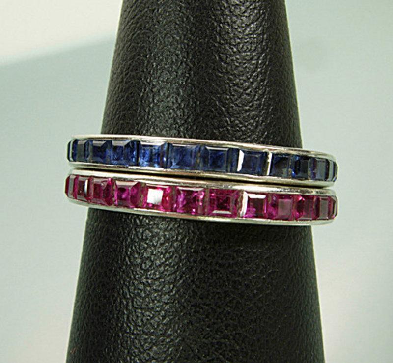 Pr 1940s 14KT White Gold Ruby, Sapphire Eternity Rings