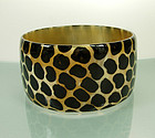 Statement Size Wide Painted Animal Print Horn Bangle