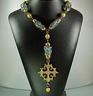 1970s Cadoro Poured Glass Quatrefoil Pendant Necklace