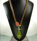 Alice Caviness Bakelite Glass Coral Turquoise Necklace
