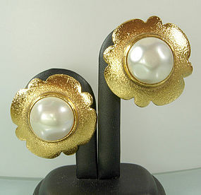 Signed Chanel Faux Pearl and Textured Goldtone Earrings