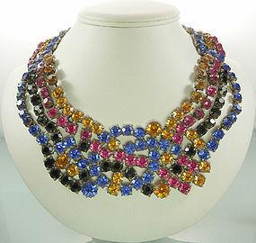 1960s Bib Necklace Huge Blue Fuschia Topaz Black Stones