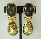 Edouard Rambaud Paris Byzantine Goldtone/Wood Earrings