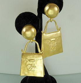 Signed Karl Lagerfeld Large Drop Earrings Handbag Motif