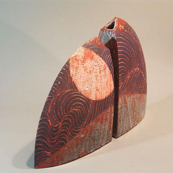 Contemporary Shino Vase Set by Wakao Toshisada