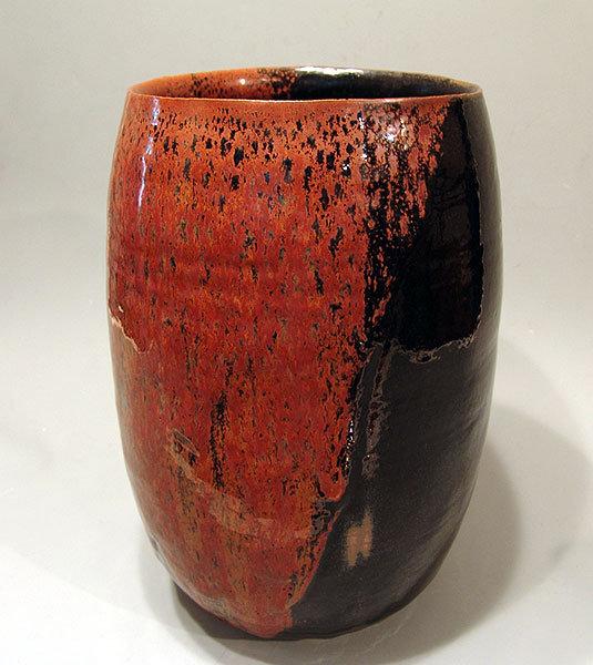 Huge Tetsu-e Pottery Tsubo Vase by Shimizu Yasutaka