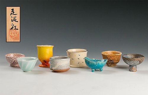 Suzuki Osamu and Sodeisha Ceramic Japanese Sake Cup Set