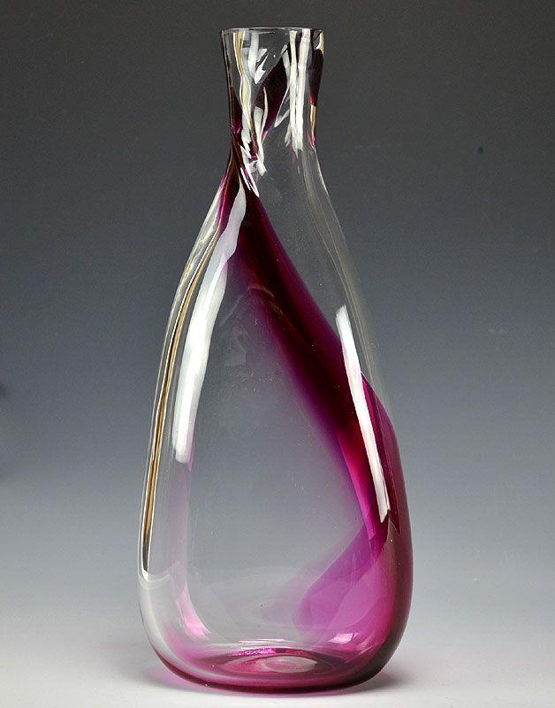 Red Stripe Hand-blown Art Glass Bottle by Nakashima Yasushi