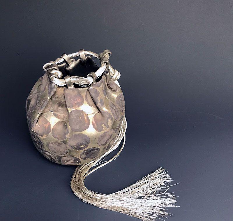 Brocade Series Silver Ceramic Pouch by Tsuboi Asuka