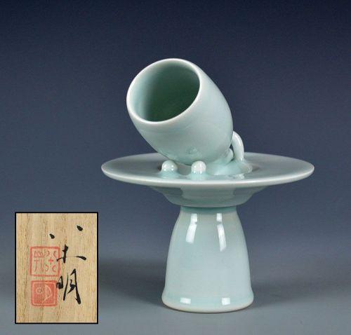 Yagi Akira Contemporary Porcelain Horn Vase