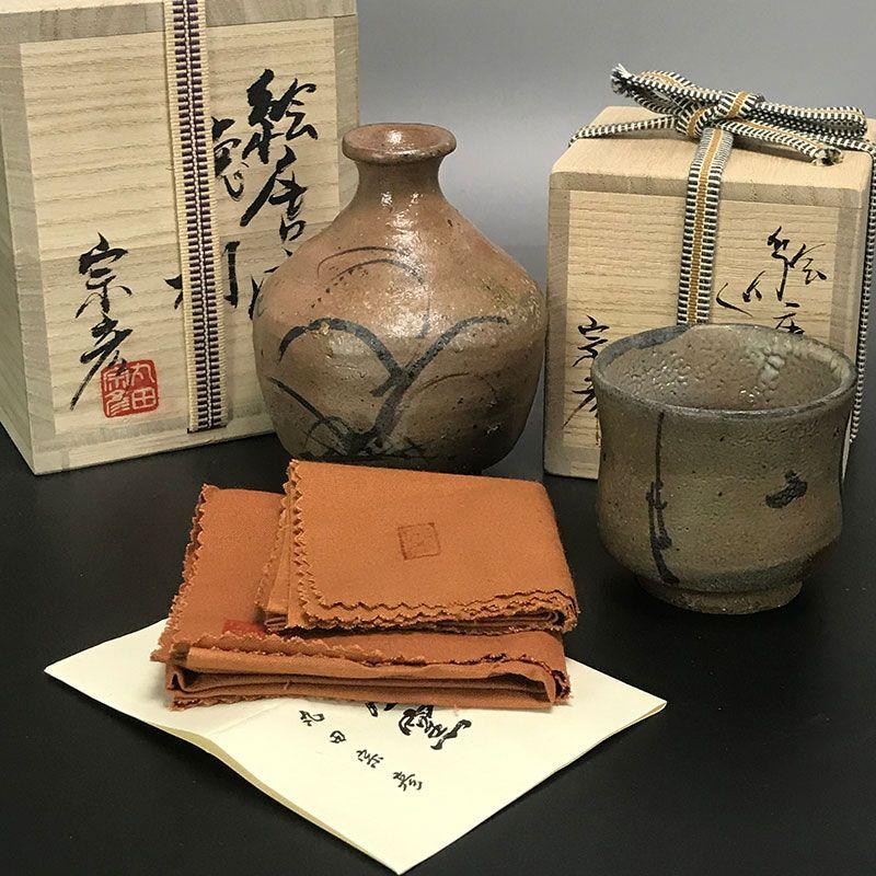 Maruta Munehiko Karatsu Sake Set, Tokkuri & Guinomi