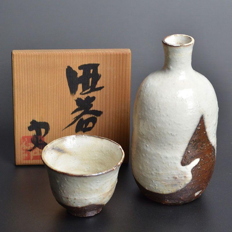 Banura Shiro Elegant Tokkuri & Hai Ceramic Sake Set