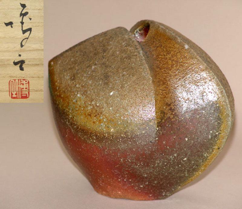 Sculptural Bizen Vase by Wakimoto Hiroyuki