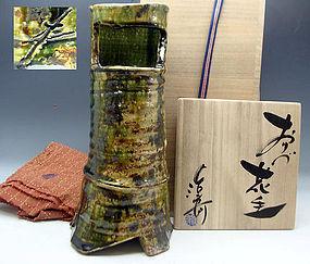Spectacular Oribe Vase by Famous Tsukamoto Haruhiko
