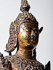 Antique lacquered gilt bronze Ayutthaya Buddha Statue