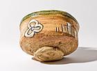 Japanese excevated Oribe tea bowl - 16th. century