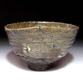 Tanba Chawan with natural cracks 120 years Meiji Period