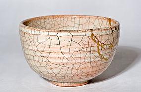Antique Satsuma Hibi-Yaki Tea Bowl with gold lacquer