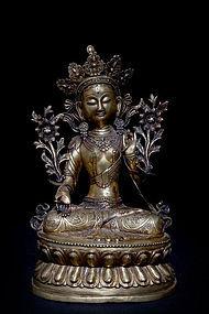 Large Chinese Qing Dynasty Gilt Bronze Buddha 9kg marked