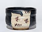 Japanese Black Oribe Chawan of early Edo period