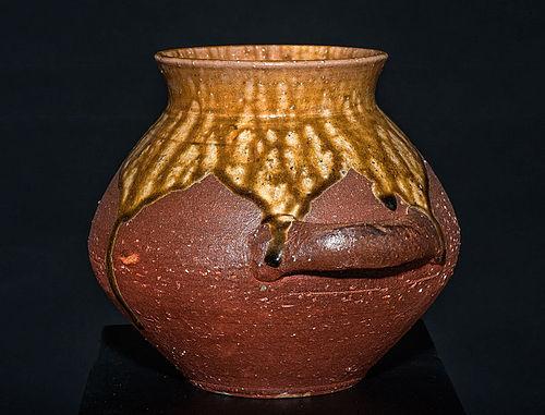Massive Shigaraki Vase Tsubo by great Rakusai Takahashi III
