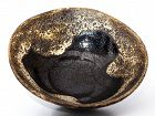 Unique antique Ohi Chawan with predator pattern