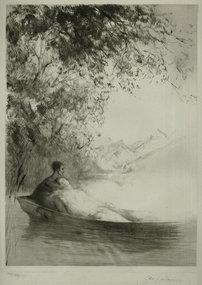 "Paul Herrmann, etching, ""On the Lake"""
