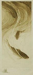 Charles Mielatz, etching, Chinese Carp, 1887