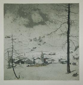 Luigi Kasimir, color etching, Corvara (Dolomites), 1916