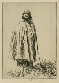 "Joseph Simpson, etching, ""Lucy in Galloway,"" 1927"