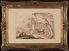 """18th Century Dutch School, ink & wash, """"Pastoral Scene"""""""