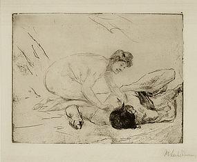 "Max Libermann, etching, ""Simson und Delila,"" 1906"