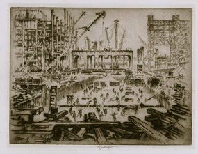"""Joseph Pennell, etching, """"Hudson Ave Foundations"""" 1923"""