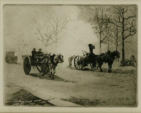 """Edgar Chahine, etching, """"Quartier Du Combat,"""" c. 1905"""