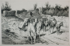 """Peter Moran, etching, """"On the Road to Santa Fe,"""" 1884"""