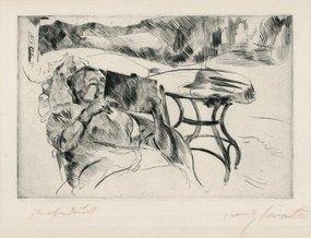"""Lovis Corinth, etching, """"Dame im Gartenstuhl,"""" 1911"""